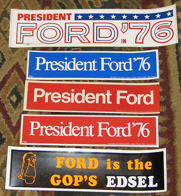 1976 Gerald Ford Unused Campaign Bumperstickers - 5 Different