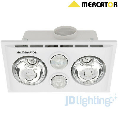 Lava Duo Bathroom Heater, Exhaust Fan And Light 3-In-1 White Mercator Bs022Cswwh