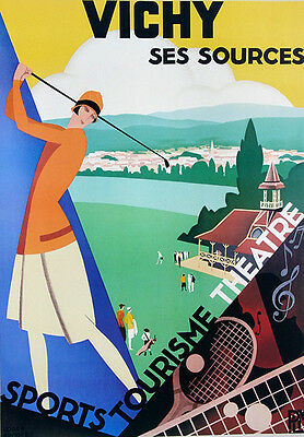 GOLFING Vintage Style by Roger Broders VICHY Recreation Poster 22x30