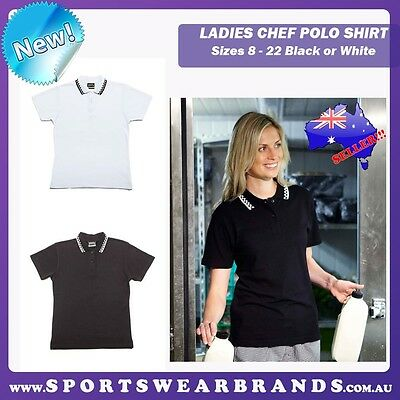 New Ladies Chef Polo Unisex Sizes 8 - 22 Restaurant Bar Hotels Clubs Uniform 5LP
