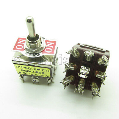 1×Heavy Duty Toggle Switch 3PDT ON-OFF-ON Three Position 15A 250V 20A 125V