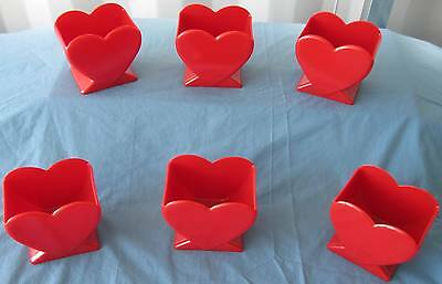 """6 pcs. New Valentine 4.5"""" Red Heart Vase Florists FREE SHIPPING!"""