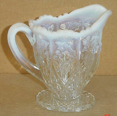 EAPG CRYSTAL OPALESCENT PANELLED HOLLY CREAMER NORTHWOOD GLASS 1907