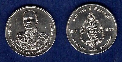 2012 Thailand 20 Baht Y#new Prince Damrong 150 Year Nickel Coin Unc (#52)