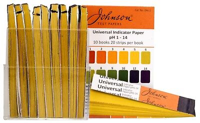 Johnson Universal Indicator Test Papers pH 1 to pH 14 - 10 Books of 20 Strips