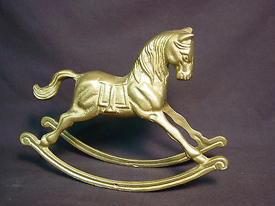Old Vtg Brass Rocking Horse Pony Statue Metal Figure Toy Carousel Indian India