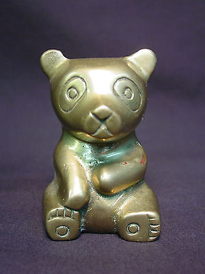 Old Vtg Brass Bear Koala Panda Teddy Statue Metal Doll Mini Paperweight Unique