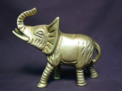 Old Vtg Brass Indian Elephant Statue Metal Doll Mini Handmade India Art Figure