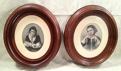 Engravings of Two Young Women in Oval Wood Frame Nicely Framed and Matted