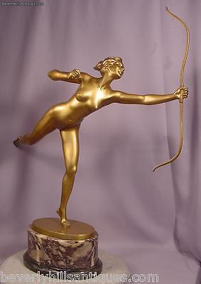 Ultimate Superb Antique Art Deco Gilt Bronze Running Diana With Her Bow G. Fager