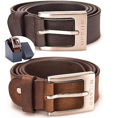 Milano Mens Full Leather Black & Brown Belt Square Silver Buckle Real Genuine
