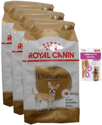 3x1,5kg  Royal Canin Chihuahua 28 Adult Hundefutter + 80g Fleischsnacks