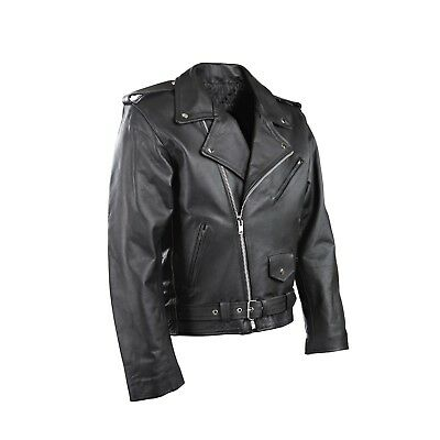 Mens P2 Motorcycle Perfecto Brando Motorbiker Leather Jacket Current Style Free
