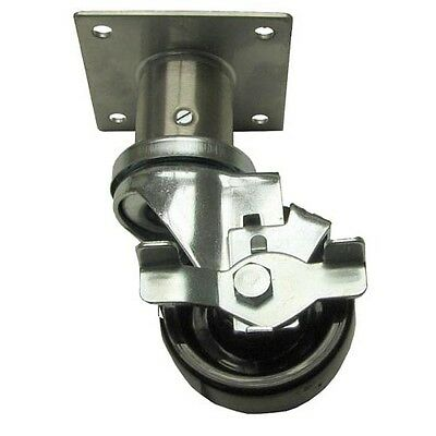 "PLATE CASTER WITH BRAKE 1/2"" Adjustable 3"" Wheel Component Hardware Group 263113"