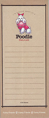 POODLE Pretty In Pink Funny Friends Magnetic NOTEPAD List Pad
