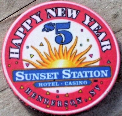 $5 Ltd New Year 1999 Gaming Chip From The Sunset Station  Casino Henderson Nv