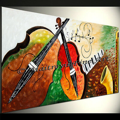 Original Abstract Art Fine Art Modern Oil Music Guitar Violin Red Paintings