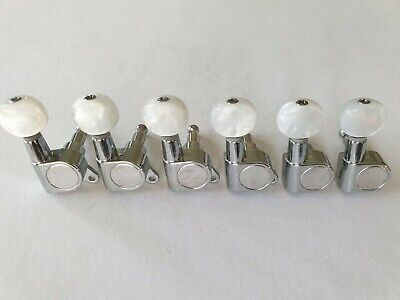 Standard strat / tele 6 in line guitar tuners chrome with pearl white button new