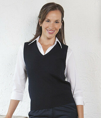 Ladies Knitted Vest Wool Pullover Office Corporate V-Neck Sizes 8 - 24 6V1