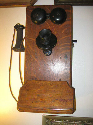 Antique Telephone, 1900's Western Electric, Wood Wall Telephone