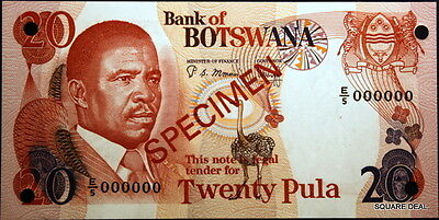 ND Choice UNC Beautiful Color P-10s2 Bank of Botswana Specimen Twenty Pula!!