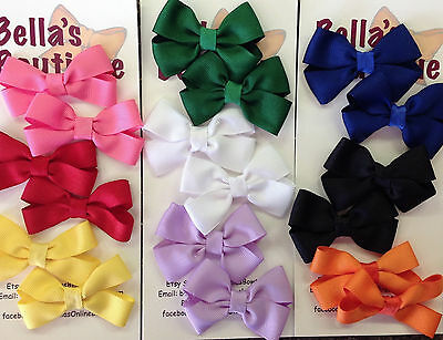Set 2 Boutique Bow Hair Clips Pigtails Zebra White Black Pink Cream Green Blue