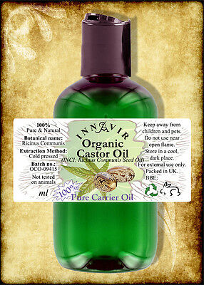 Pure Organic Castor Oil BP 100ml - Cold Pressed
