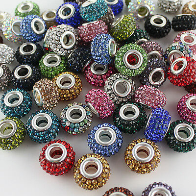 WHOLESALE LOTS COLORS AUSTRIAN CRYSTAL SILVER FINDINGS EUROPEAN CHARM BEADS