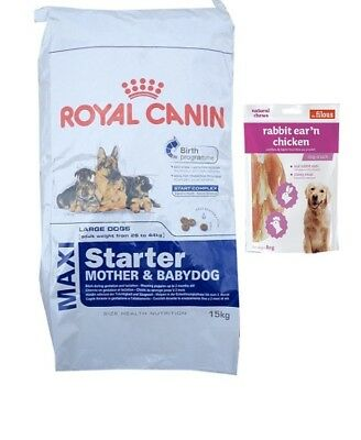 15kg Royal Canin Maxi Starter Mother & Babydog + 80g Fleischsnacks