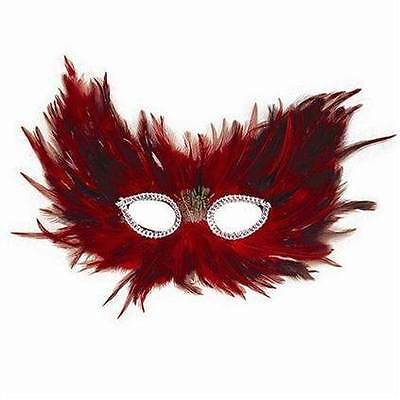 Red & Black Feather Masquerade Eye Mask, Elasticated Fitting, Halloween