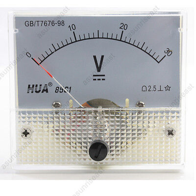 1 × DC 30V Analog Panel Volt Voltage Meter Voltmeter Gauge 85C1 White 0-30V DC