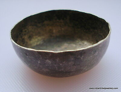 vintage antique collectible old silver bowl small rajasthan india