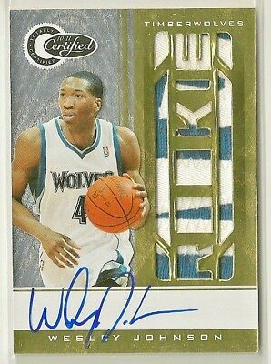 Wesley Johnson 2010-11 Totally Certified GOLD 2 color Patch RC Auto #'d 10/25