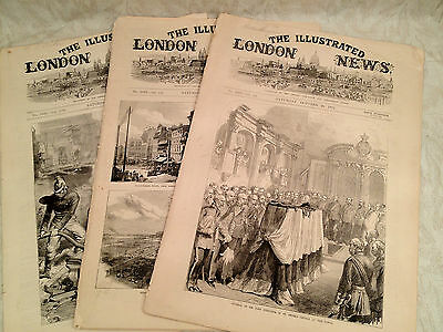 Illustratrated London News - 3 Papers, 1871 Chicago Fire, Paris Riot, Burgoyne