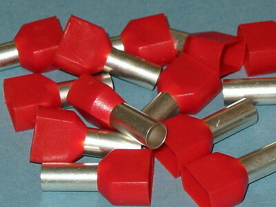 RED TWIN  FERRULE CRIMP  10.0mm  (BOOTLACE CRIMPS)  QTY = 50