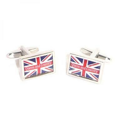 Queen & Country Union Jack Cufflinks British Flag Cruise Formal Gift Box