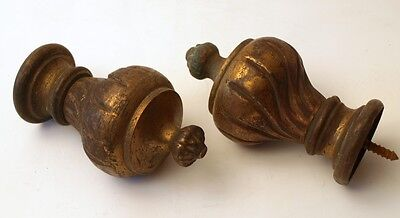 TWO STUNNING FRENCH ANTIQUE BRONZE RAIL ENDS 1900c