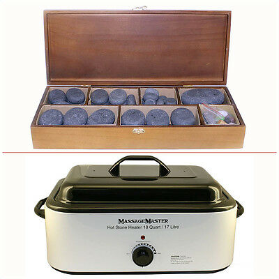 HOT STONE MASSAGE KIT: 70 Basalt Stones + 18 Qt Heater