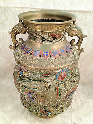 Antique Japanese Bronze Champleve Enamel Vase