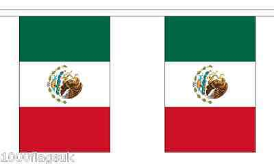 Mexico Polyester Flag Bunting - 6m long with 20 Flags