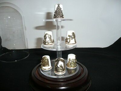 Collectable Sterling Classic Set Of 6  English Bone China Thimbles