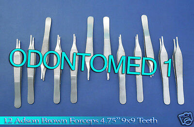 "12 Adson Brown Forceps 4.75"" 9x9t Surgical Instruments"