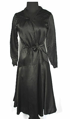 Rare French Vintage 1920's-1930's Black Silk Satin Bias Cut Dress Size 14-16