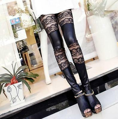 Fashion Sexy Lace Stitching Faux Leather Leggings Tights Pantyhose S M L size