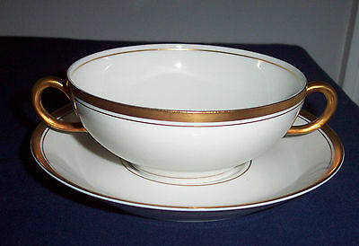 PATTERN OLD COLONY BY SYRACUSE CHINA CREAM SOUP BOWL & SAUCER GOLD TRIM