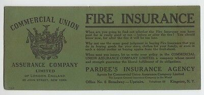 [32801] OLD COMMERCIAL UNION FIRE INSURANCE INK BLOTTER by PARDEE'S INSURANCE