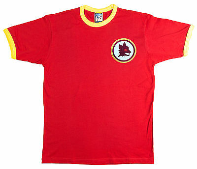 Retro Roma 1960s Football T Shirt New  Sizes S-XXL Embroidered Logo