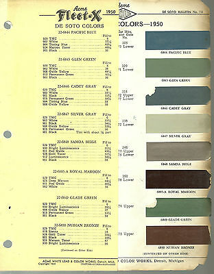 1950 DeSOTO Color Chip Paint Sample Brochure / Chart: ACME, De Soto