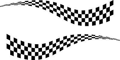 2 x LARGE CHEQUERED FLAG VINYL STICKERS 3 SIZES race car van camper decal