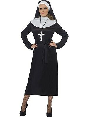 Ladies Nun Fancy Dress Costume Womens Sister Mother Vicar Girl Black Robe Outfit